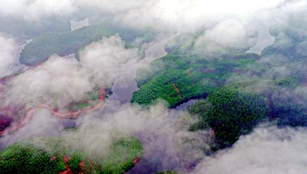 """新华网航拍:乐山""""千岛湖""""波光粼粼雨雾缭绕"""